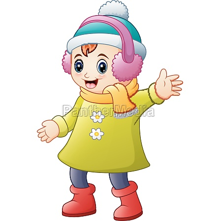happy girl in winter clothes wearing