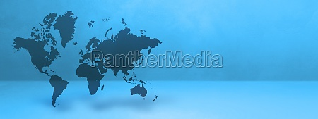 world map on blue wall background