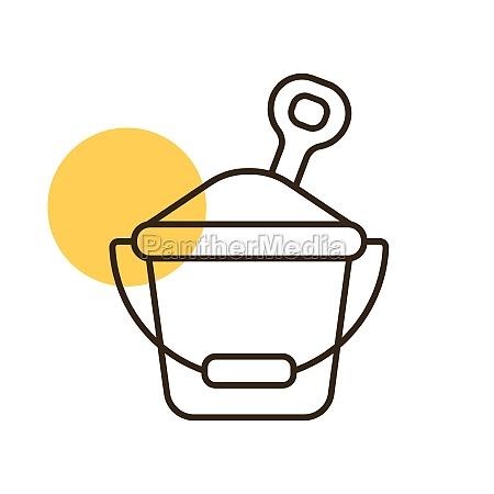 sand bucket and shovel flat vector