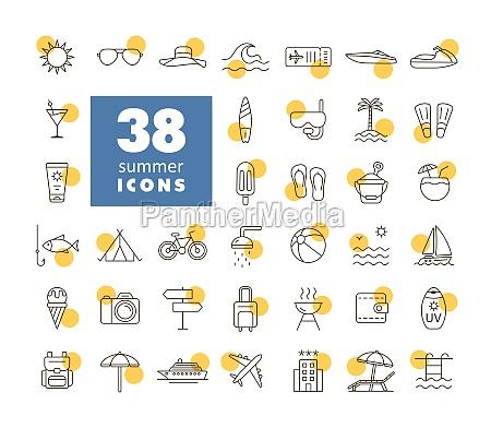 summer vector flat icons set summertime