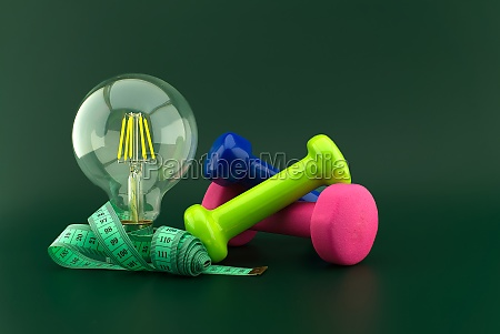 lifestyle concept with lamp dumbbell and
