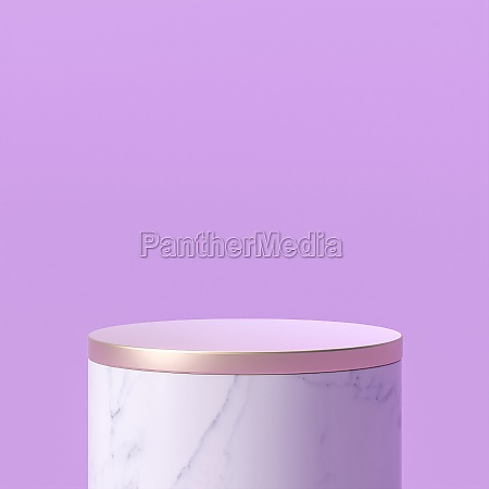 white marble podium with gold top