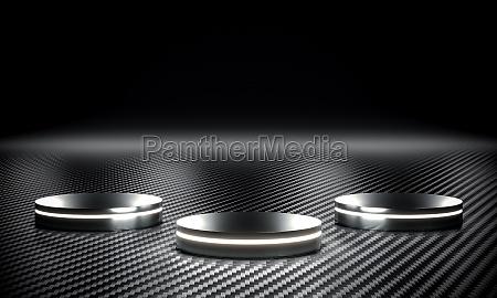 metallic podium with led luge and