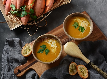 sweet potato and carrot soup served