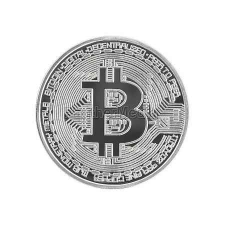 close up silver bitcoin symbol on