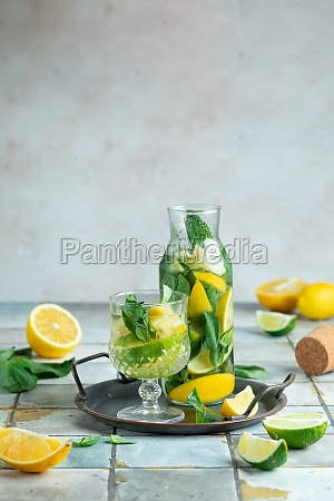 lemonade with lemon and mint in