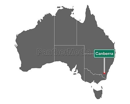 ortsschild canberra auf landkarte von australien