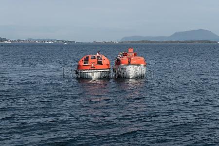 rescue exercise of a cruise ship