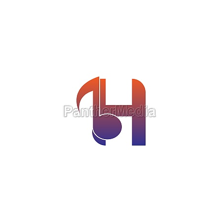 letter h logo icon with musical