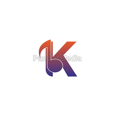 letter k logo icon with musical