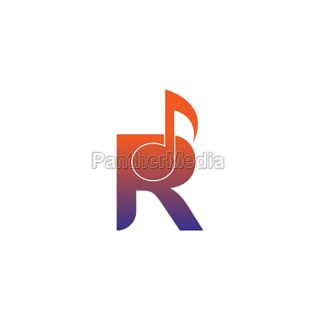 letter r logo icon with musical
