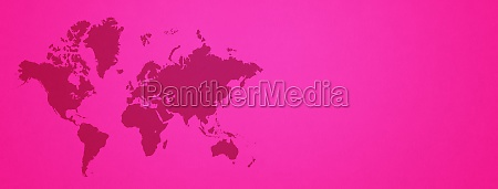 world map on pink wall background
