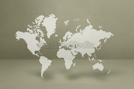world map on grey wall background