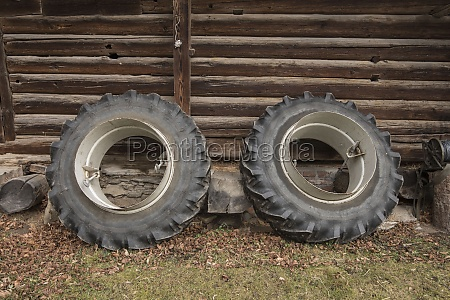 the tire of a tractor