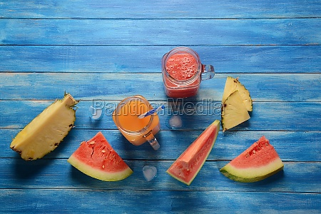 fresh watermelon and pineapple cocktails in