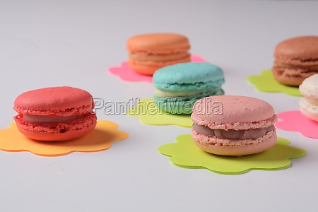 french colorful macarons for dessert