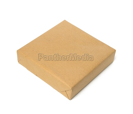 square box wrapped in brown kraft