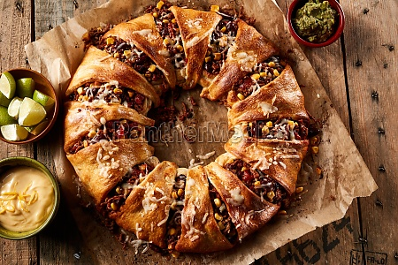 appetizing enchilada ring with cheese and