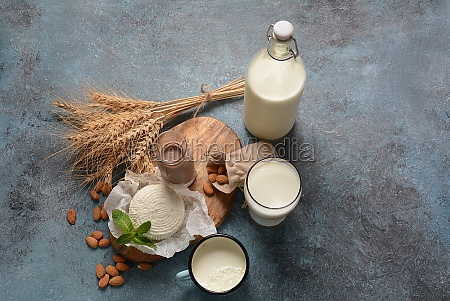 almond milk in glass bottles with