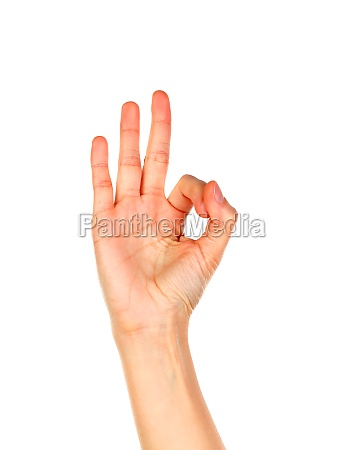 female hand saying ok