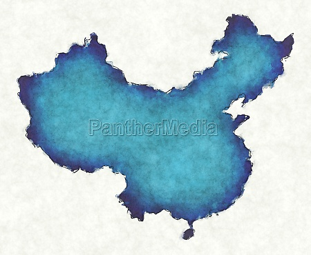 china map with drawn lines and