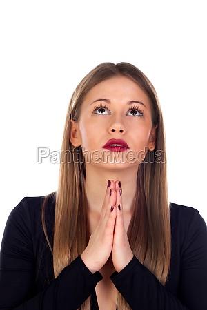 stylish woman praying