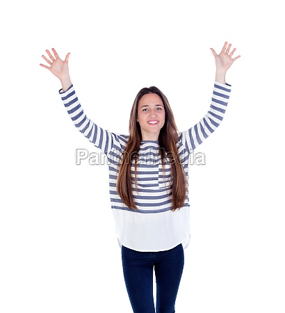 young teenager with his arms raised