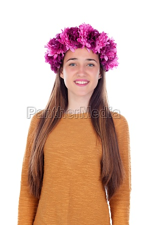 beautiful teenager girl with purple flowers