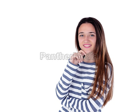 pensive teenager girl