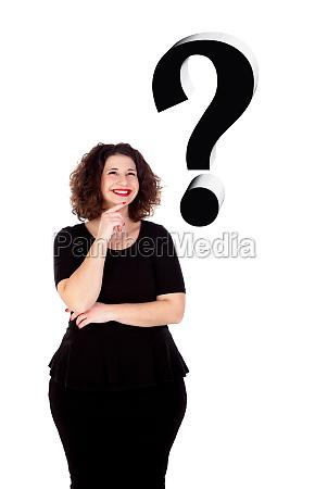pensive beautiful curvy girl with black
