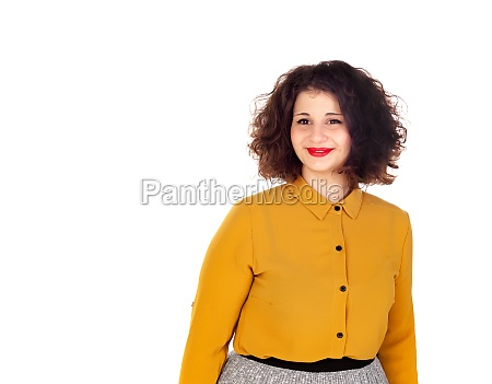 attractive curvy girl with red lips