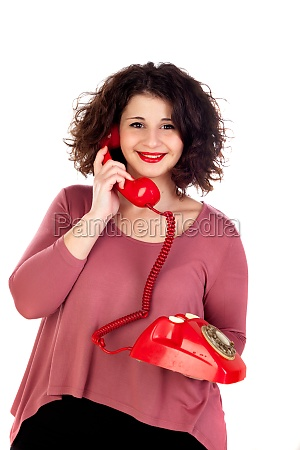 attractive curvy girl calling with a