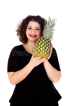 beautiful curvy girl holding and pineapple