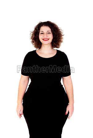 beautiful curvy girl with black dress