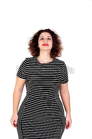 pensive beautiful curvy girl with striped