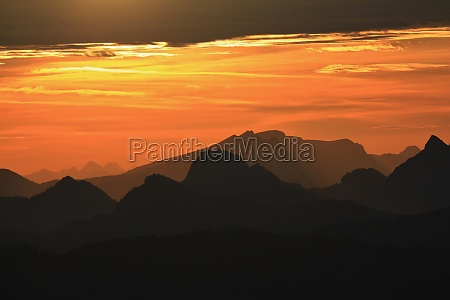 view from the rigi at sunrise