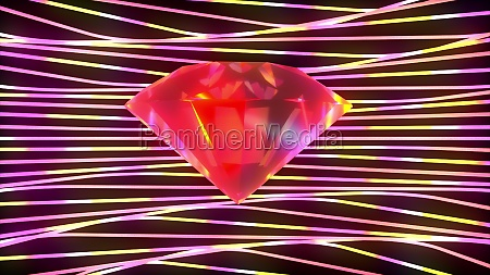 sparkling diamond surrounded by twisting stripes