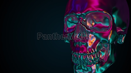 iridescent human skull