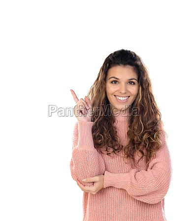 beautiful middle aged woman with pink