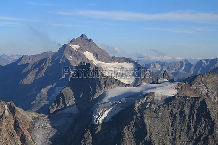 beautiful shaped mountain with glacier in