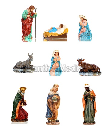 traditional christmas nativity scene with mary
