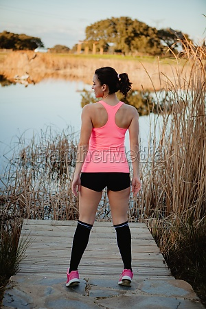 athlete with sportswear in nature to