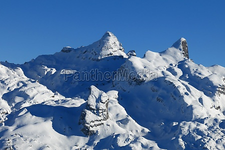 snow covered mountains in central switzerland