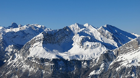 high mountains in central switzerland view