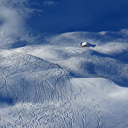 ski and snowboard tracks and little