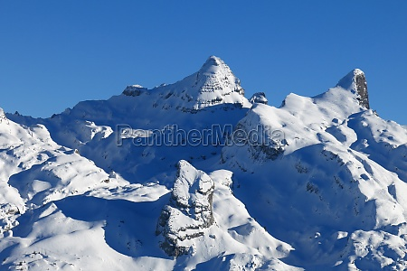 beautiful snow covered mountains in central