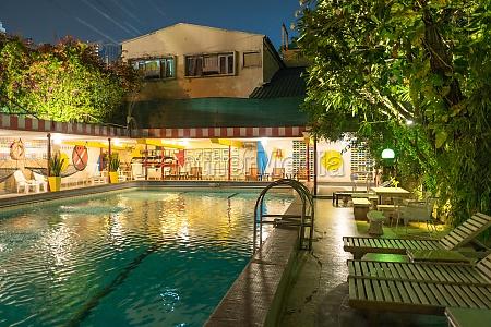the atlanta swimming pool at night