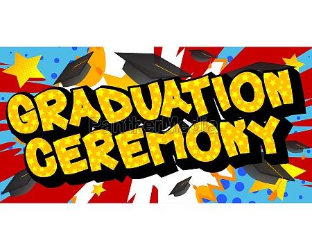 graduation ceremony comic book style