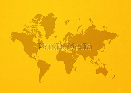 world map on yellow wall background