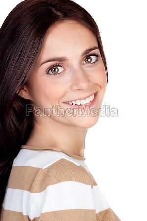 brunette happy woman looking at camera